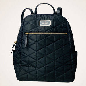 """KATE SPADE Blake Avenue Black Quilted Nylon Backpack """"Hilo"""" Small"""